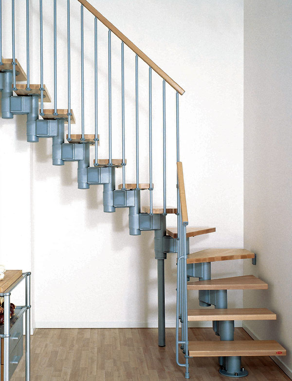 Modular spiral stairway kompact spiral staircase for Half spiral staircase